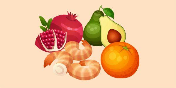 авокадо, апельсин, гранат і креветки