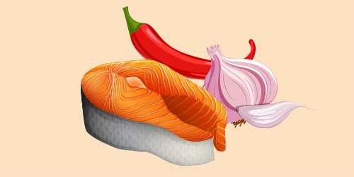 червона риба з часником і гострим перцем