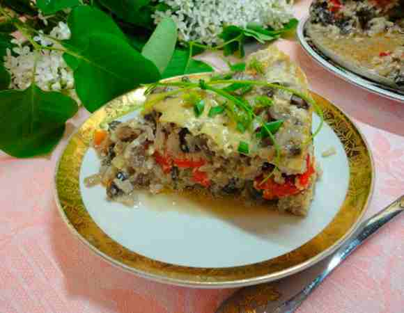 рис запечений з болгарським перцем і печерицями