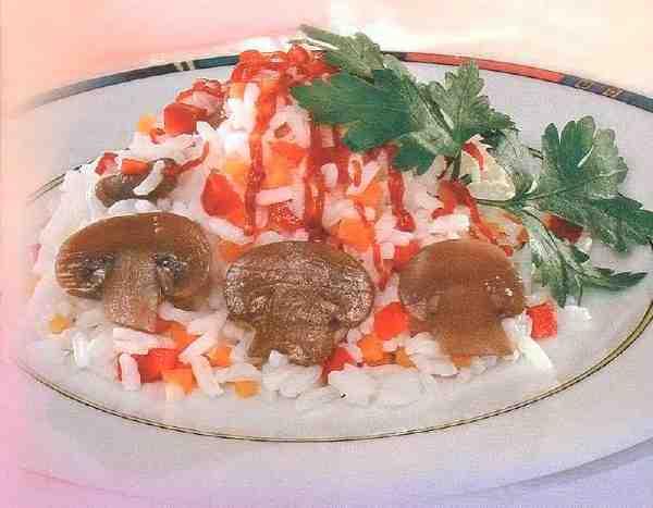 Рис із грибами й овочами