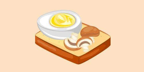 Бутреброд з яйцем і грибами