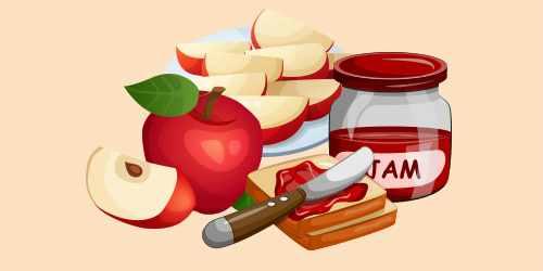 бутерброд з яблуком і джемом