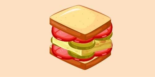 сендвіч з омлетом, солоними огірками та помідорами