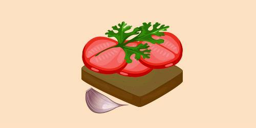 бутерброд з помідорами, часником та петрушкою