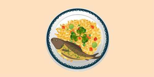 форель із рисом і овочами