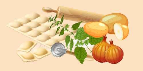 равіолі з кропивою, картоплею та цибулею