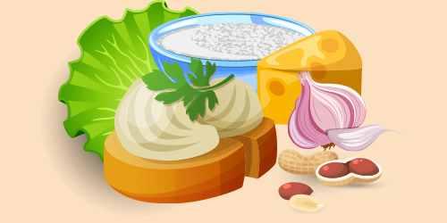 бутерброд або грінки з сиром (творогом), арахісом, салатом, твердим сиром, часником