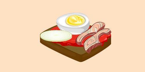 бутерброд з яйцем, рибою та цибулею з томатом