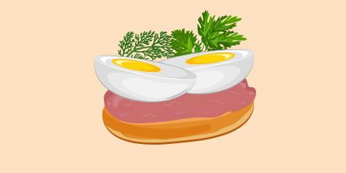 Бутерброд з яйцем і ліверною ковбасою