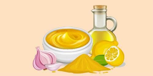 соус з гірчицею, лимоном, олією та часником
