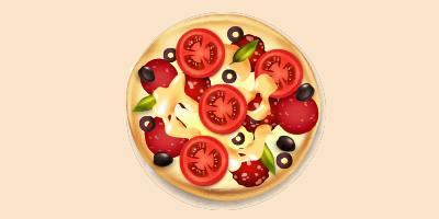 піца з ковбасою, маслинами, помідорами та сиром