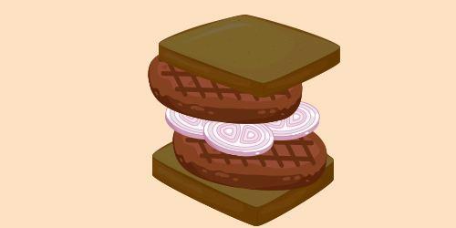 сендвіч із житнього хліба з бургерами та цибулею