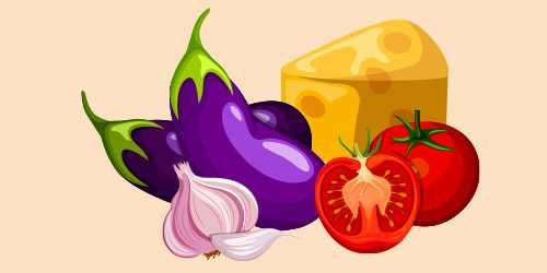 баклажани з помідорами, сиром і часником