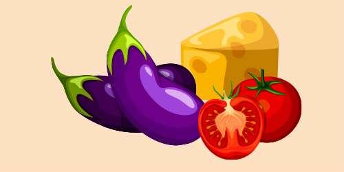 баклажани, помідори, сир
