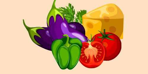 баклажани, перець, помідори, сир