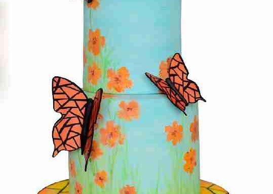 Торт з вітражними метеликами