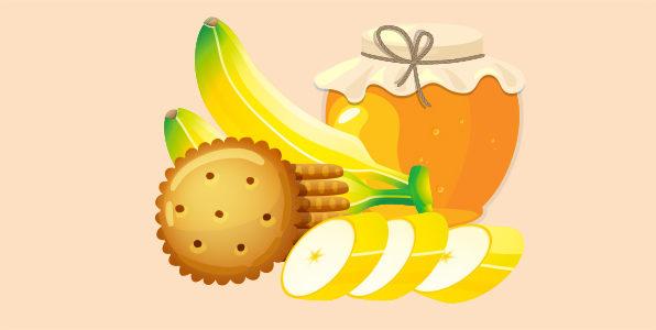 банани з крекерами та медом