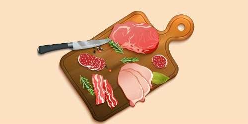 м'ясні вироби - ковбаса, шинка, бекон