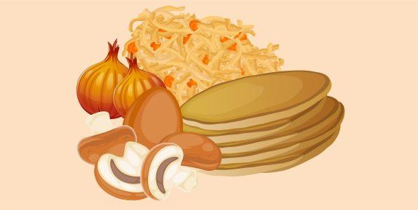 млинчастий пиріг з начинкою з грибів, квашеної капусти, цибулі та йяця