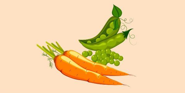 зелений горошок і морква