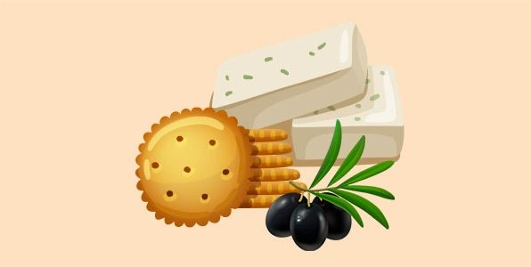 Крекери з бринзою та маслинами