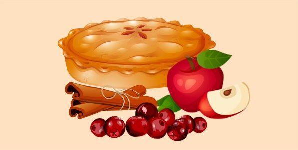 Пиріг з яблуками, журавлиною та корицею