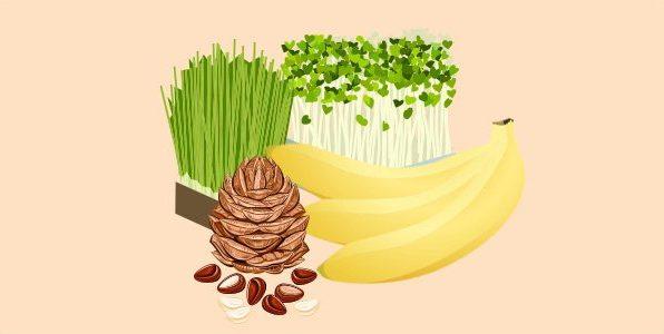 банани, кедрові горішки, проростки