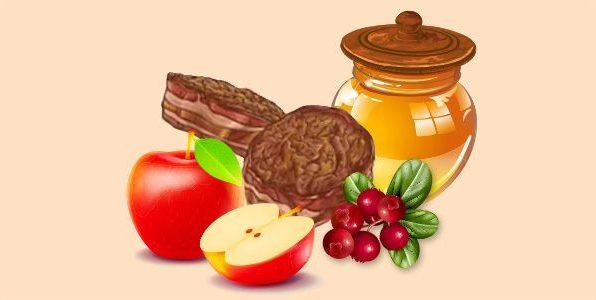 медальйони з брусницею, медом і яблуками