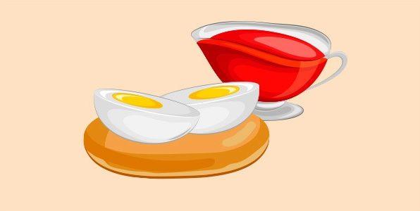 відкритий бутерброд з яйцями й томатним соусом