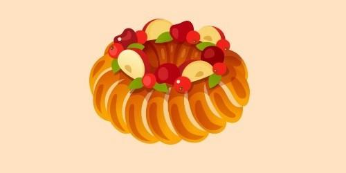 кекс з яблуками та фруктами