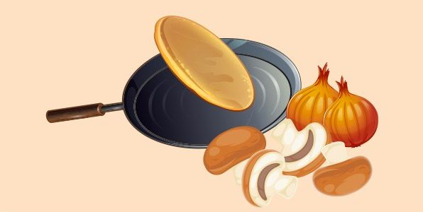 млинці з грибами та цибулею