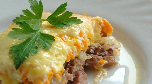 Яловичина з овочами (болгарським перцем, морквою, ріпою та сиром)