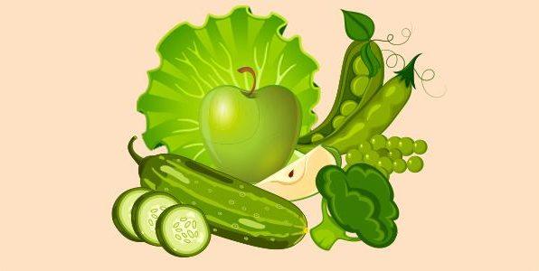 брокколі зелений горошок огірок салат яблуко