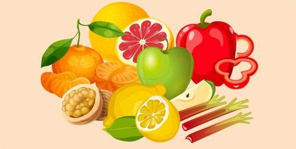 горіхи грейпфрут лимон мандарин перець ревінь яблуко