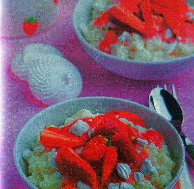 Пудинг рисовий з полуницею