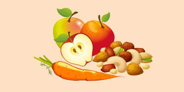 горіхи, морква, яблука