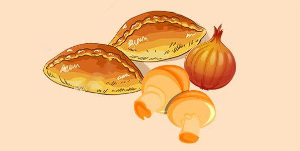 Пиріжки з грибами та цибулею