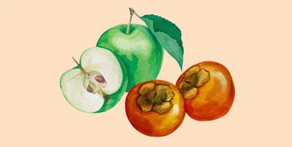 хурма та яблуко