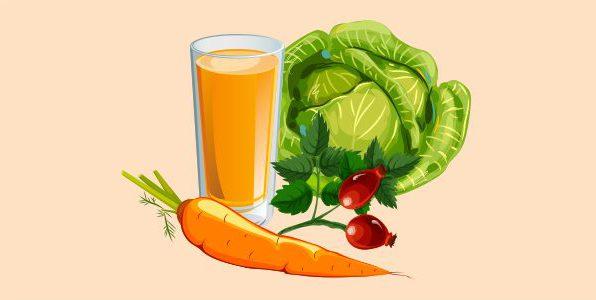 сік з капусти і моркви з шипшиною