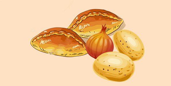 пиріжки з начинкою з картоплі та цибулі