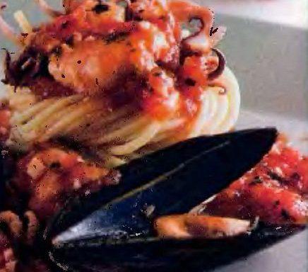 Спагеті з морепродуктами (з вином)