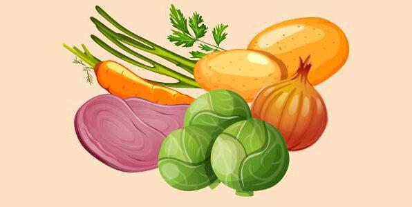 брюссельська капуста, зелена цибуля, картопля, морква, петрушка, цибуля, шинка