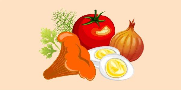 гриби лисички, помыдор, цибуля, яйця, кріп, петрушка