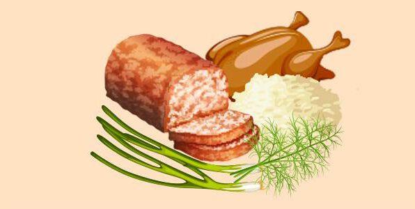 курячий м'ясний хліб з рисом та зеленню