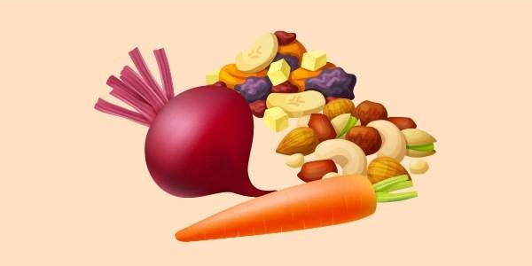 Буряк, морква, сухофрукти і горіхи
