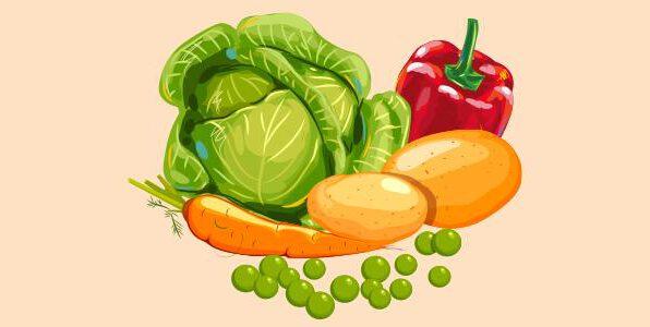 зелений горошок, капуста, картопля, морква, болгарський перець