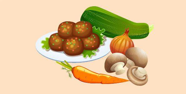 фрикадельки з грибів, моркви, цибулі та цукіні