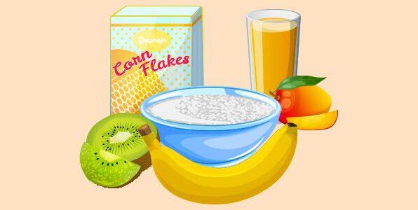 сир (творог), банан, ківі, кукурудзяні пластівці, сік манго