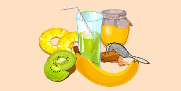 напій з ананасом, бананом, імбиром, ківі та медом