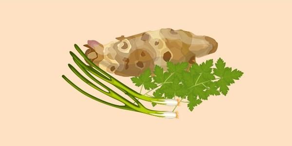 топінамбур, зелена цибуля, петрушка
